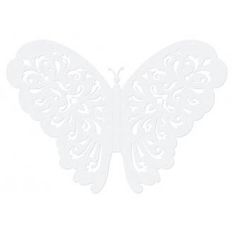 Motylki ozdobne, biały, 14cm, 1op.