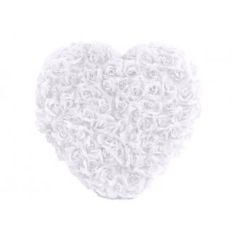 Serce kwiatowe pełne, biały, 50cm, 1szt.