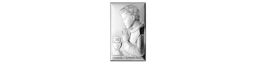 Obrazki srebrne na Komunie