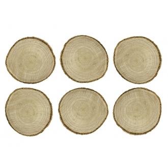 Drewniane wizytówki na stół, śr. 4,5-6,5cm, 1op.