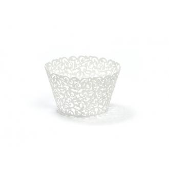 Papilotki na muffinki, biały, 5,5 x 8,5cm, 1op.