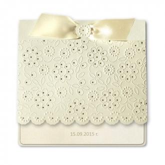 Zaproszenia Ślubne wykonane z matowego papieru w kolorze ecru F1214tz