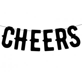 Baner Cheers, czarny, 12,5 x 50cm, 1szt.