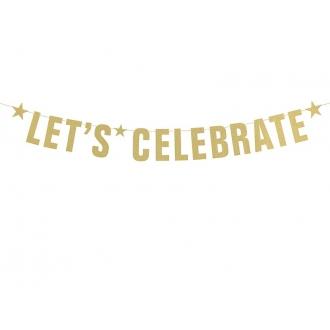 Baner Let's Celebrate, złoty, 14 x 106cm, 1szt.