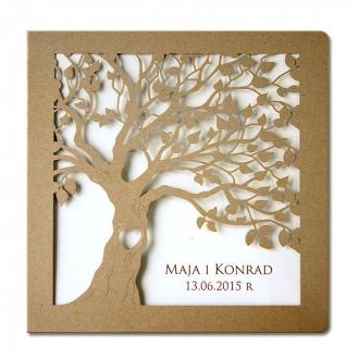 Zaproszenia Ślubne Kwadratowe Drzewo F1199