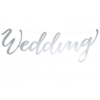 Baner Wedding, srebrny, 16,5x45cm, 1szt.