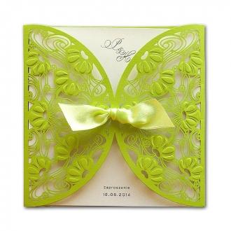 Zaproszenia Ślubne w kolorze jasno zielonym. F1197z