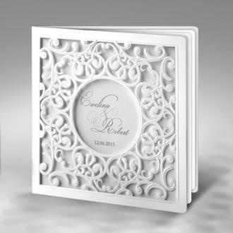 Zaproszenia Ślubne z białego matowego papieru F1204