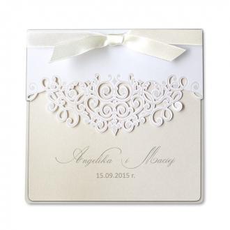 Zaproszenia Ślubne z matowego papieru w kolorze białym F1205