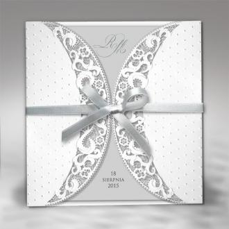 Zaproszenia Ślubne w kolorze białym F1218