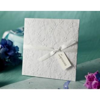 Zaproszenie z Srebrzonymi Kwiatami T1109