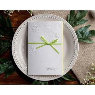 Zaproszenia Ślubne z Dużymi, Tłoczonymi Kwiatami T1116