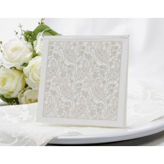 Zaproszenia Ślubne z Wysrebrzonym Motywem Kwiatowym T9105