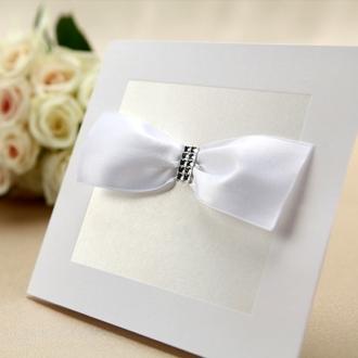 Zaproszenia Ślubne z Ozdobną Atłasową Wstążką TBH1111