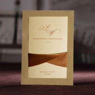 Zaproszenia Ślubne z Metalizowanego Papieru w Kolorze Złotym TCW2043