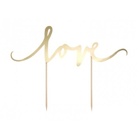 Topper na tort Love, złoty, 17cm, 1szt.