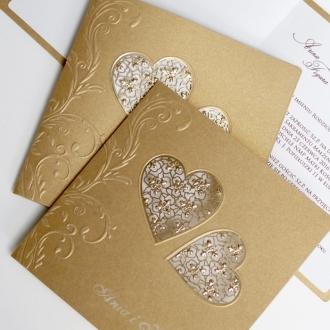Zaproszenia Ślubne z Perłowego Papieru w Kolorze Złotym F1236nz