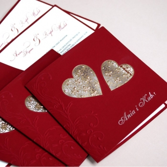 Zaproszenia Ślubne z Bordowego Papieru  F1236b