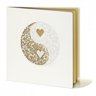 Zaproszenia Ślubne z Perłowego Papieru z Wzorem Koronkowym F1067
