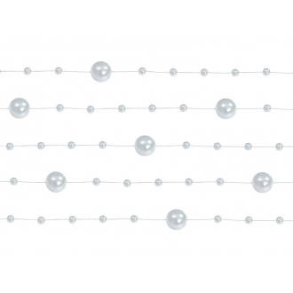 Girlandy perłowe, srebrny, 1,3m, 1op.