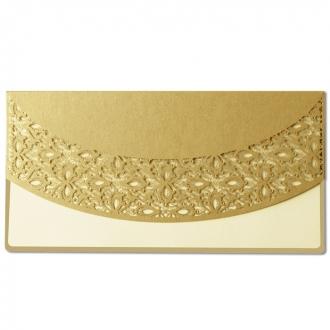 Zaproszenie z Metalizowanego Papieru w Kolorze złotym  F1174nz