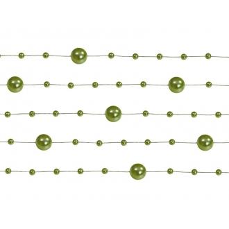 Girlandy perłowe, c. zielony, 1,3m, 1op.