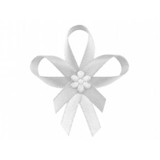 Kotyliony z satynowym kwiatkiem, biały, 1op.