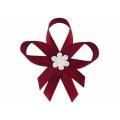 Kotyliony z satynowym kwiatkiem, bordo, 1op.