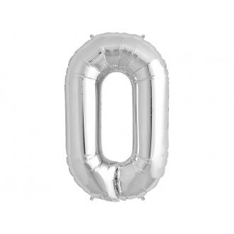 "Balon foliowy 34"" Cyfra 0, srebrny, 1szt."