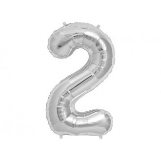 "Balon foliowy 34"" Cyfra 2, srebrny, 1szt."