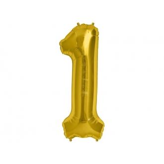 """Balon foliowy 34"""" Cyfra 1, złoty, 1szt."""