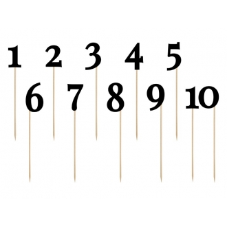 Numery na stół, czarny, 24-26cm, 11szt.