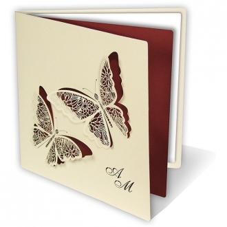 Zaproszenia Ślubne w Kolorze Kremowym z Dwoma Motylami 085.22.30