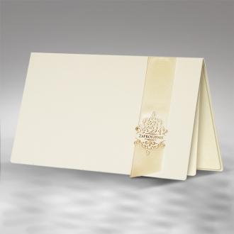 Zaproszenia Ślubne w Delikatny Wzór z Atłasową Wstążką F1164o