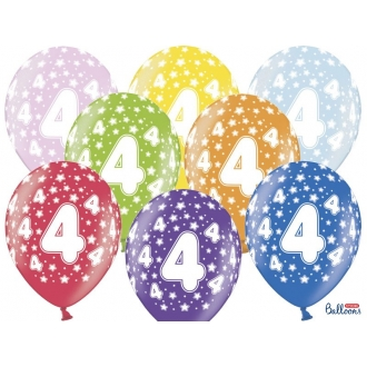 Balony 30cm, 4th Birthday, Metallic Mix, 6szt.