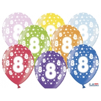 Balony 30cm, 8th Birthday, Metallic Mix, 6szt.