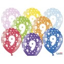 Balony 30cm, 9th Birthday, Metallic Mix, 6szt.
