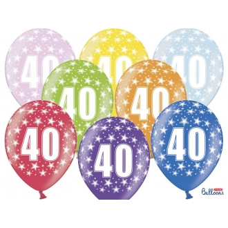 Balony 30cm, 40th Birthday, Metallic Mix, 6szt.
