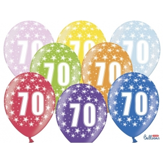 Balony 30cm, 70th Birthday, Metallic Mix, 6szt.