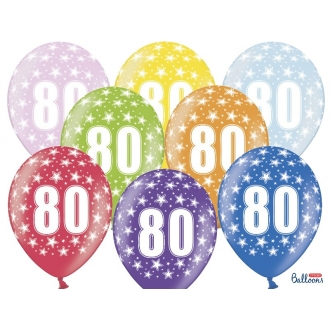 Balony 30cm, 80th Birthday, Metallic Mix, 6szt.