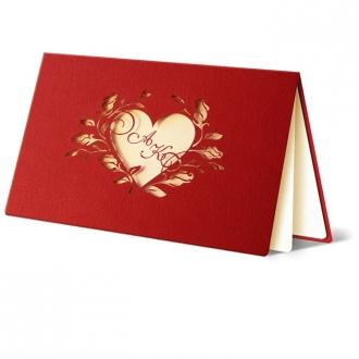 Zaproszenia Ślubne w Kolorze Bordowym z Motywem Serca F1070