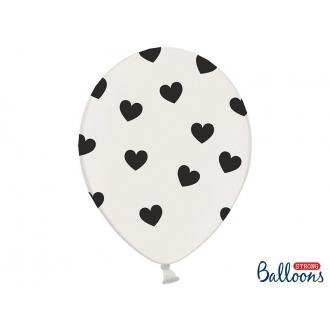 Balony 30cm, Serduszka, Pastel Pure White, 6szt.