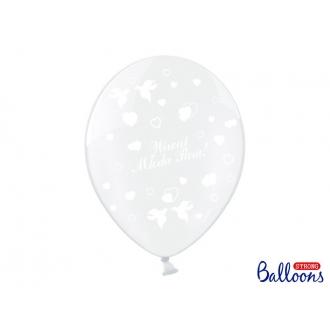 Balony 30cm, Wiwat Młoda Para!, C. Clear, 50szt.