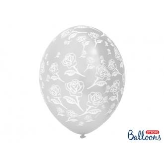 Balony 30cm, Róże, Crystal Clear, 50szt.