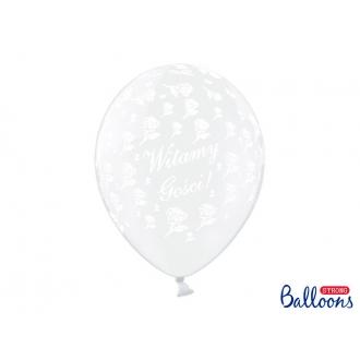 Balony 30cm Witamy Gości!, Crystal Clear, 50szt.