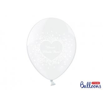 Balony 30cm Wiwat Młoda Para!, C. Clear, 50szt.