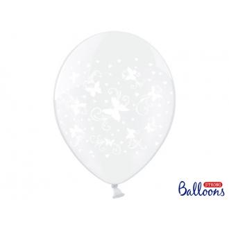 Balony 30cm, Motylki, Crystal Clear, 6szt.