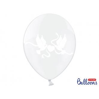 Balony 30cm, Gołąbki, Crystal Clear, 50szt.