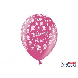 Balony 30cm, Witamy Gości!, M. Hot Pink, 50szt.