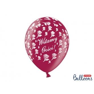 Balony 30cm, Witamy Gości!, M. Maroon, 50szt.